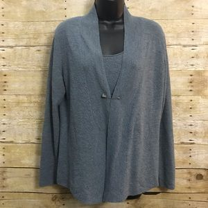 Eileen Fisher 2 pc Set Cardigan & Shell Size Small